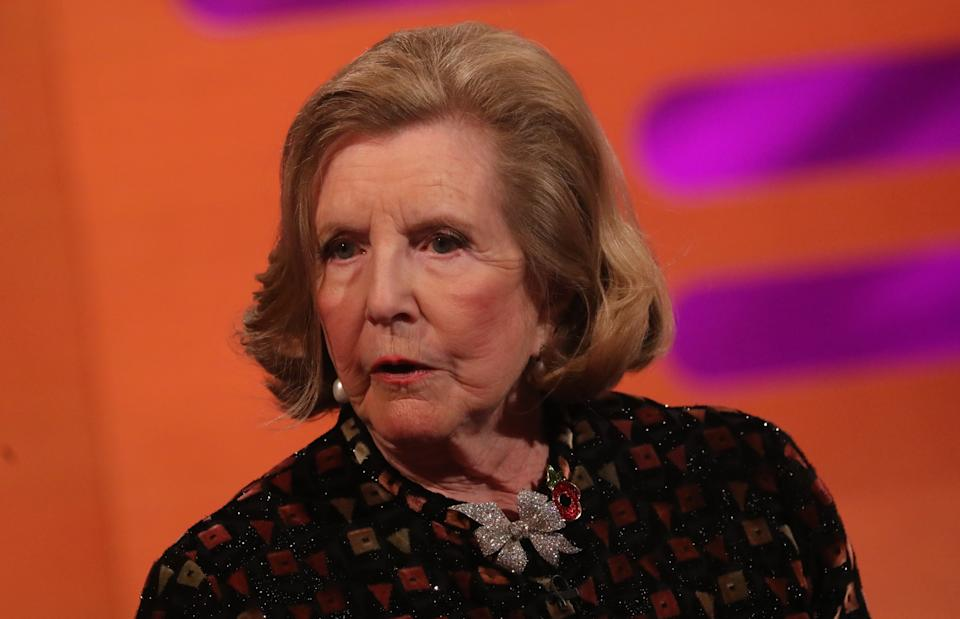Lady Anne Glenconner during the filming for the Graham Norton Show at BBC Studioworks 6 Television Centre, Wood Lane, London, to be aired on BBC One on Friday evening. (Photo by Isabel Infantes/PA Images via Getty Images)