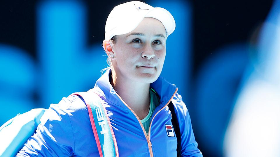 Ash Barty (pictured) walking out at the Australian Open.