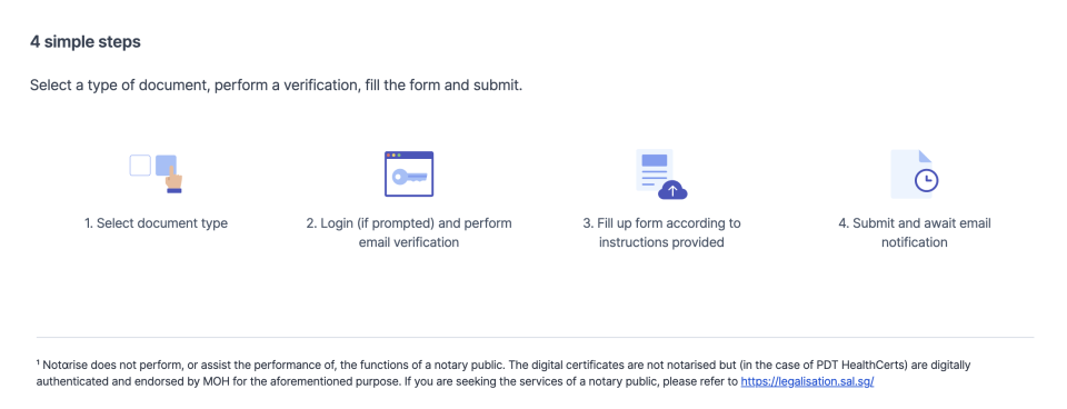 Select a type of document, perform a verification, fill the form and submit. (Photo: Screenshot from notarise.gov.sg)