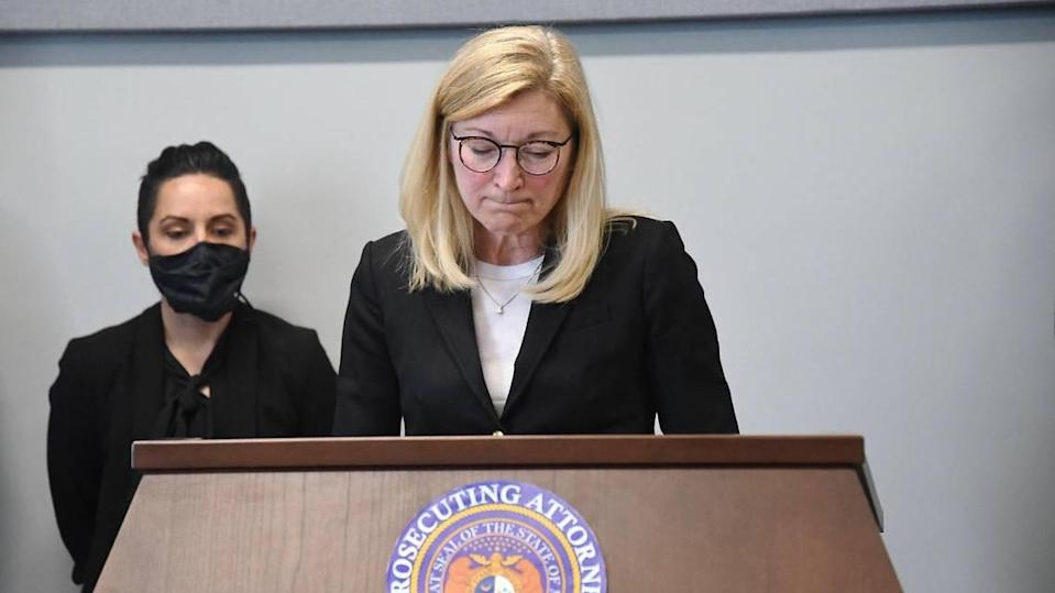 Jackson County Prosecutor Jean Peters Baker called for the release of Kevin Strickland Monday during a news conference. A months long review by the prosecutor's office determined that Strickland did not commit the triple murder he was convicted of in 1978. He has spent more than 40 years in prison for the crime.
