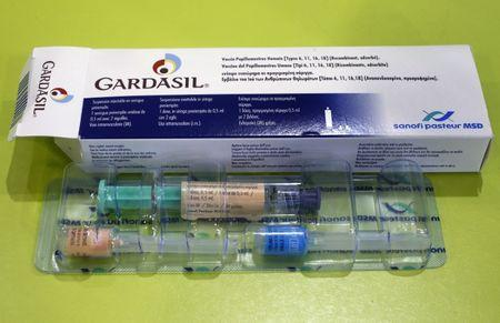 An illustration picture shows a Gardasil anti-cervical cancer vaccine box displayed at a pharmacy in Strasbourg