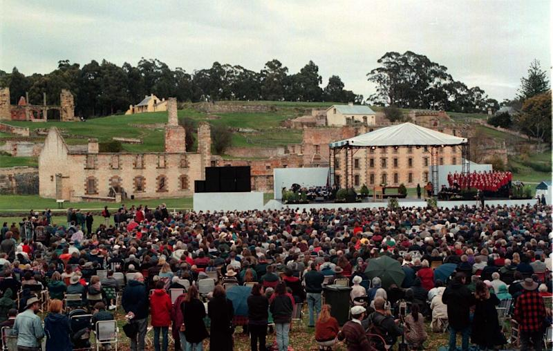 A memorial service is held May 19, 1996, at the Port Arthur historic site in Tasmania for the 35 victims of a mass shooting. (The Sydney Morning Herald via Getty Images)
