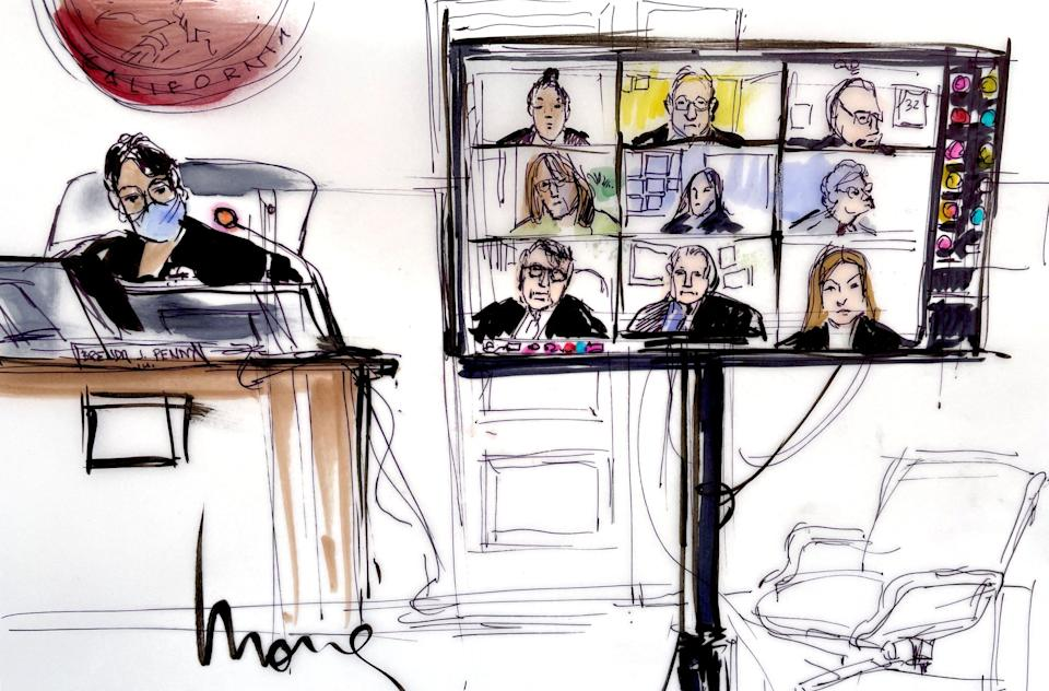 This courtroom sketch shows Judge Brenda J. Penny presiding over participants, virtually appearing on a screen, during the hearing of Britney Spears' guardianship (AFP via Getty Images)