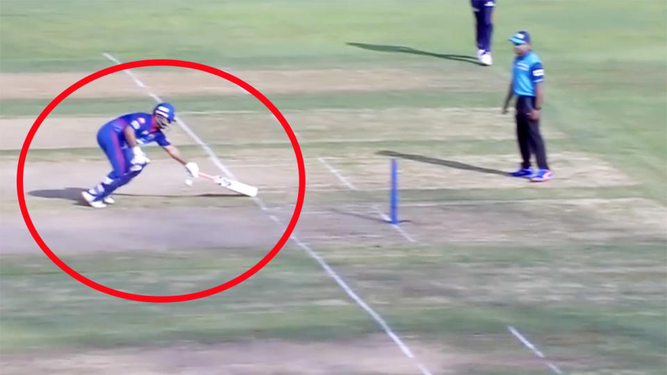 The ball, pictured here ricocheting off Rishabh Pant as he was attempting a quick single.