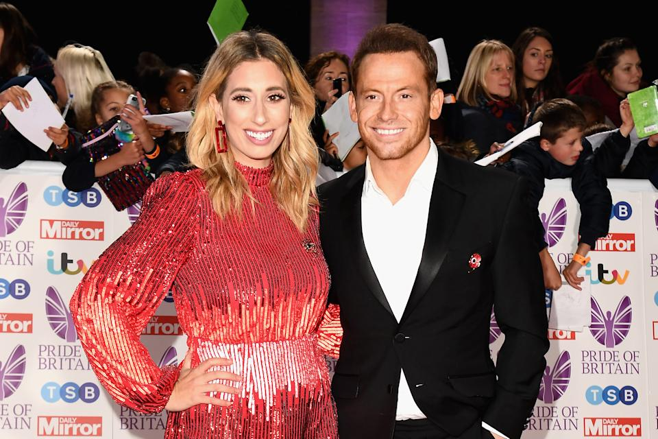 LONDON, ENGLAND - OCTOBER 29:  Stacey Solomon and Joe Swash attend the Pride of Britain Awards 2018 at The Grosvenor House Hotel on October 29, 2018 in London, England.  (Photo by Jeff Spicer/Getty Images)