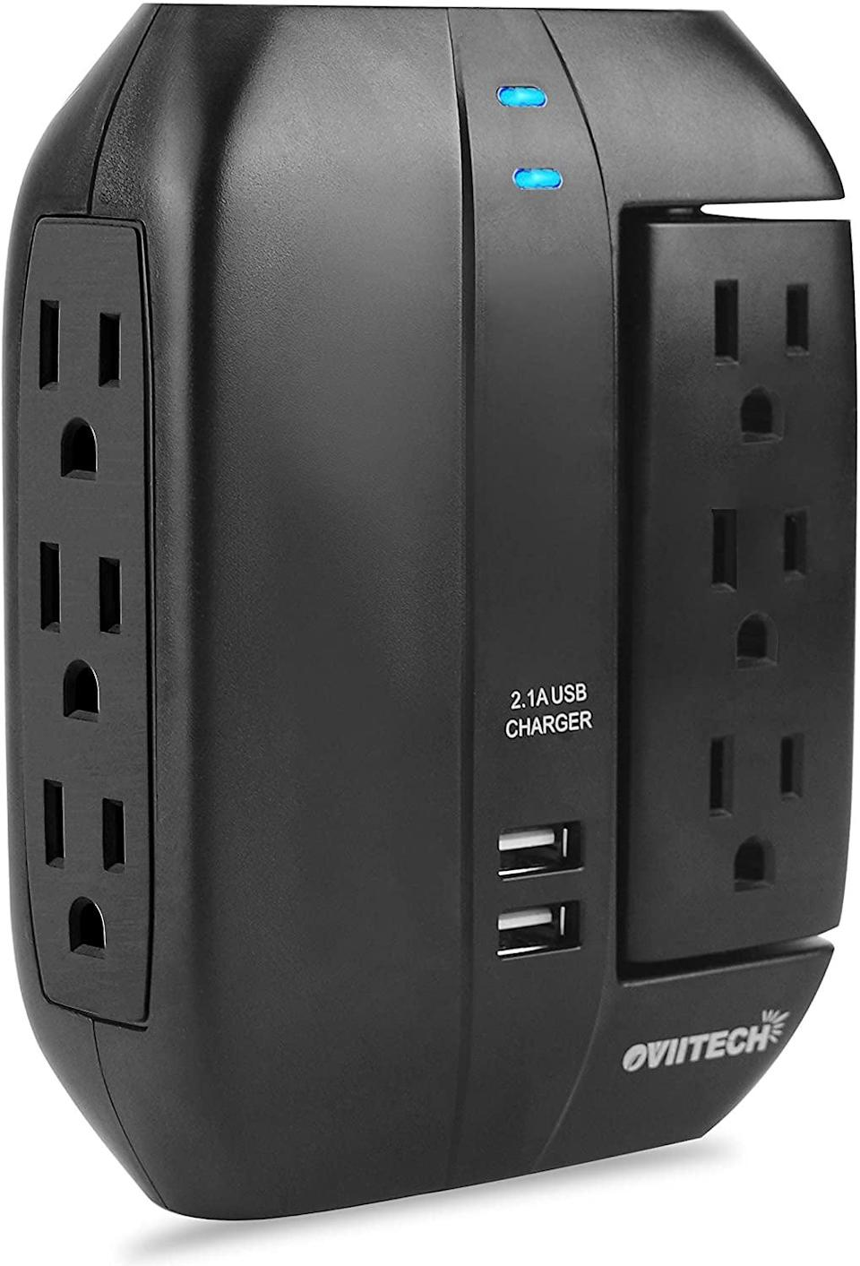 <p>The <span>6 Outlet Multi Plug Swivel Surge Protector Wall Tap</span> ($16) is perfect for your entertainment center.</p>