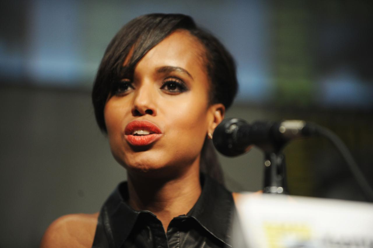 "SAN DIEGO, CA - JULY 14:  Actress Kerry Washington speaks at the ""Django Unchained"" panel during Comic-Con International 2012 at San Diego Convention Center on July 14, 2012 in San Diego, California.  (Photo by Albert L. Ortega/Getty Images)"