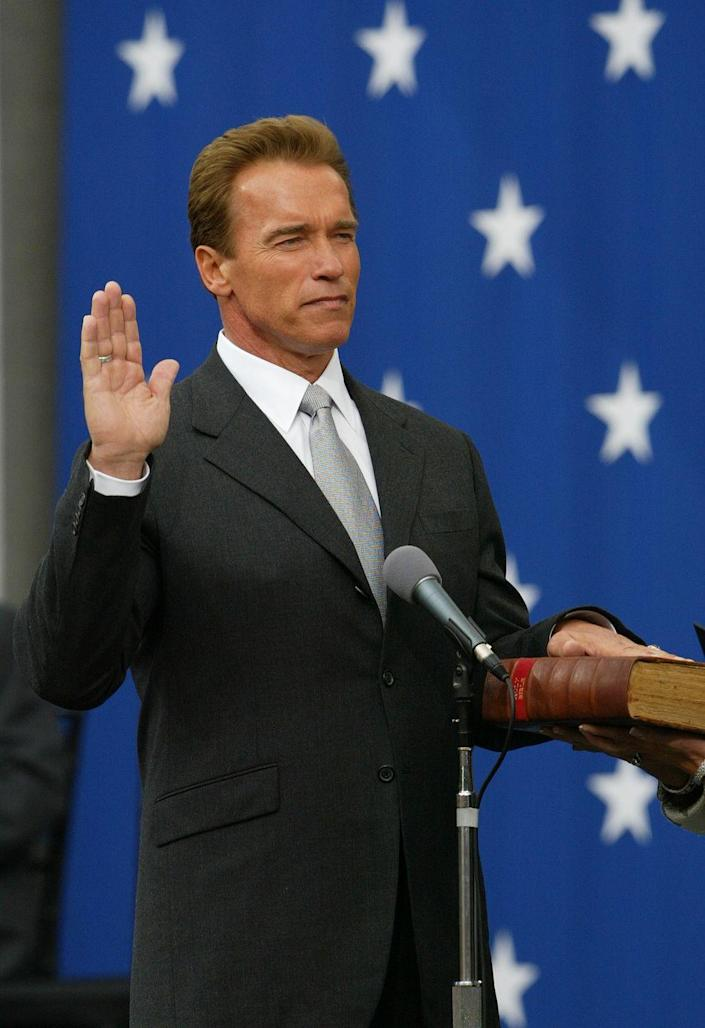 <p>Not only did the third <em>Terminator </em>film drop in 2003, but Arnold Schwarzenegger was sworn into office as Governor of California too. The bodybuilder turned actor turned politician took a hiatus from the screen during his time in office.</p>