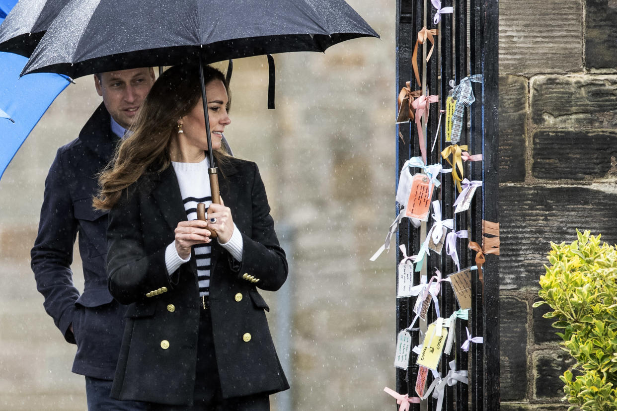 Britain's Catherine, Duchess of Cambridge and Britain's Prince William, Duke of Cambridge visit the University of St Andrews in St Andrews on May 26, 2021. (Photo by Andy Buchanan / POOL / AFP) (Photo by ANDY BUCHANAN/POOL/AFP via Getty Images)