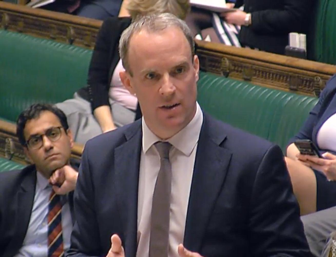 Foreign Secretary Dominic Raab speaking in the House of Commons in London, where he told MP that the Foreign Office is advising against all non-essential foreign travel for an initial period of 30 days. (Photo by House of Commons/PA Images via Getty Images)