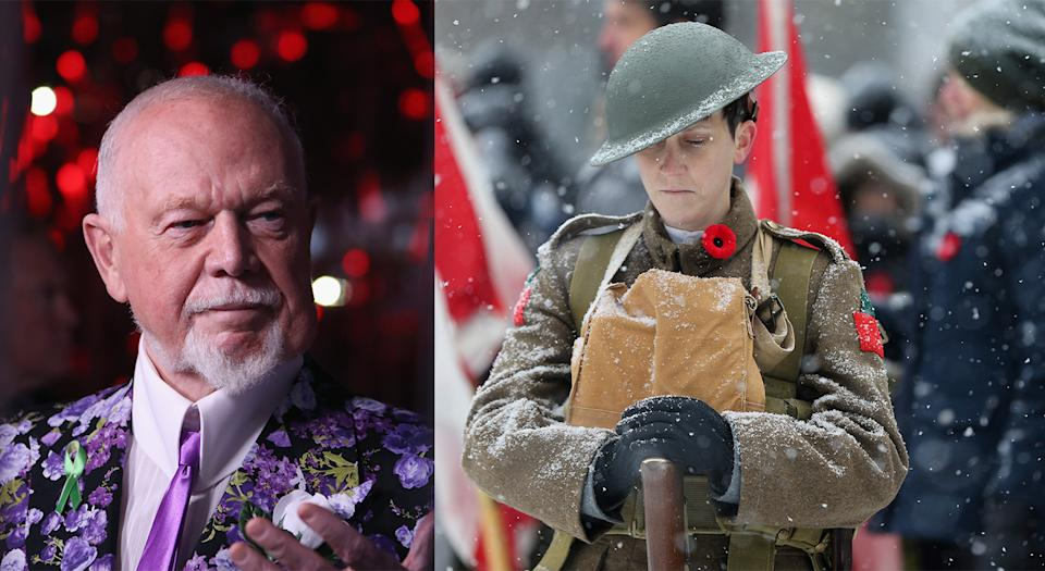 While Don Cherry's support of the military was appreciated by the Royal Canadian Legion, his divisive opinion shared during Saturday night's Coach's Corner was not. (Getty Images)