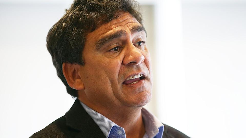 Former Australian rugby player Gary Ella is pictured during a press conference.