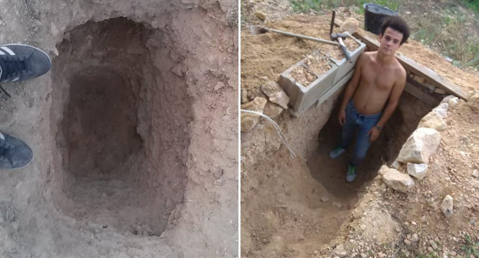 Andres Canto is pictured in a hole in the backyard of his Spain home.