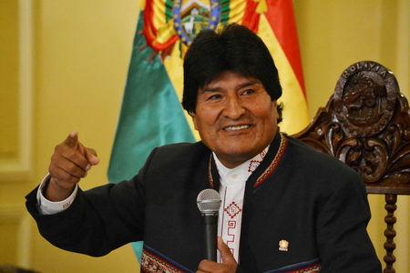 FILE PHOTO: Bolivia's President Evo Morales speaks during a news conference at the presidential palace in La Paz, Bolivia