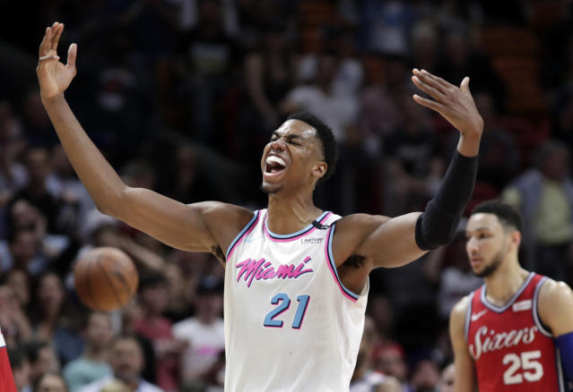 "<a class=""link rapid-noclick-resp"" href=""/nba/players/4764/"" data-ylk=""slk:Hassan Whiteside"">Hassan Whiteside</a>'s minutes have dropped this season. (AP)"