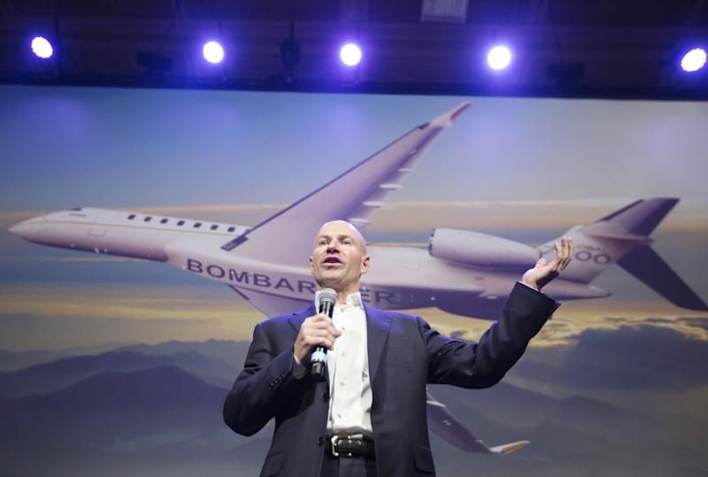 Alain Bellemare, president and chief executive officer of Bombardier Inc., speaks during a Global 7500 luxury jet launch event in Montreal, Quebec, Canada, on Thursday, Dec. 20, 2018. Bombardier Inc. is hoping that sales of the jet will help it make its goal of US$8.5 billion in annual revenues by 2020. Photographer: Christinne Muschi/Bloomberg via Getty Images