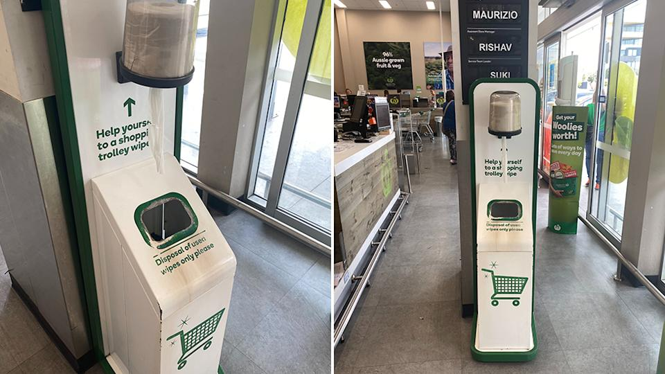 """""""Help yourself to a shopping trolley wipe,"""" Woolworths supplies customers with wipes to clean their trolley. Source: Supplied/Euan Black"""