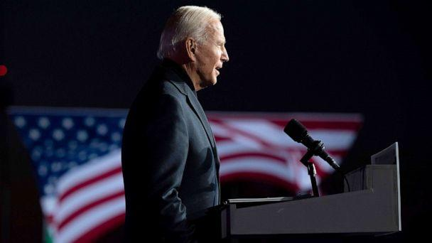 PHOTO: Democratic Presidential candidate and former Vice President Joe Biden speaks during a mobilization event at Belle Isle Casino in Detroit, Michigan, Oct. 31, 2020. (Jim Watson/AFP via Getty Images)