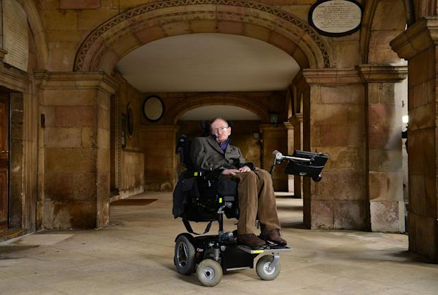 """<p>Professor Stephen Hawking attends the gala screening of """"Hawking"""" on the opening night of the Cambridge Film Festival held at Emmanuel College on Sept. 19, 2013 in Cambridge, Cambridgeshire. (Photo: Karwai Tang/Getty Images) </p>"""