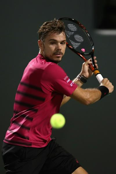 Stan Wawrinka of Switzerland, seen in action against Malek Jaziri of Tunisia during their Miami Open 3rd round match, at Crandon Park Tennis Center in Key Biscayne, Florida, on March 27, 2017