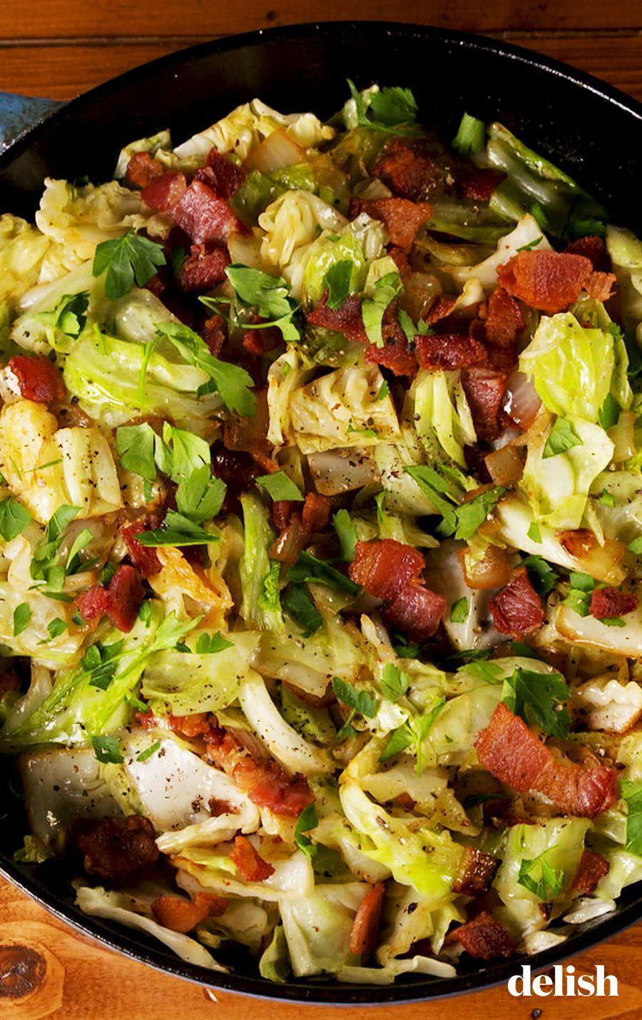 """<p>Cabbage cooked in bacon fat. That's it. That's the caption.</p><p>Get the recipe from <a href=""""https://www.delish.com/cooking/recipe-ideas/a26453749/fried-cabbage-recipe/"""" rel=""""nofollow noopener"""" target=""""_blank"""" data-ylk=""""slk:Delish"""" class=""""link rapid-noclick-resp"""">Delish</a>. </p>"""