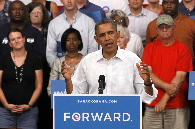 FILE - In this Aug. 14, 2012 file photo, President Barack Obama speaks during a campaign stop in Marshalltown, Iowa. Democrats are eagerly renewing their fight against privatizing Social Security now that Republican presidential candidate Mitt Romney has picked Paul Ryan as his running mate. It was a fight that didnít go well for the GOP back when former President George W. Bush pushed the idea in 2005. (AP Photo/Charles Rex Arbogast, File)