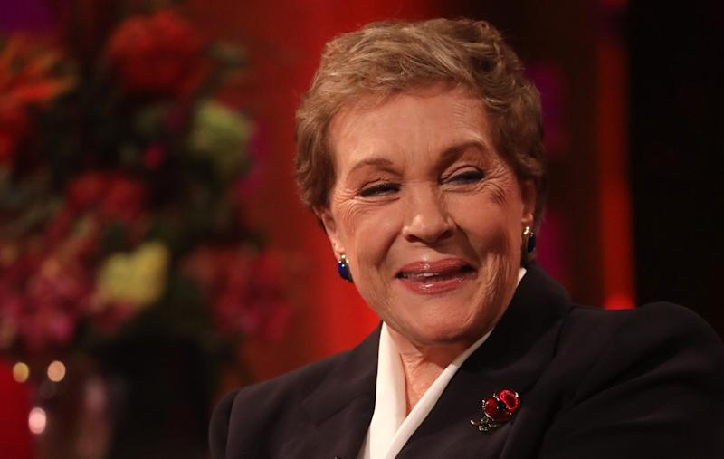 Julie Andrews during the filming for the Graham Norton Show, to be aired on BBC One on Friday evening. (Photo by Isabel Infantes/PA Images via Getty Images)
