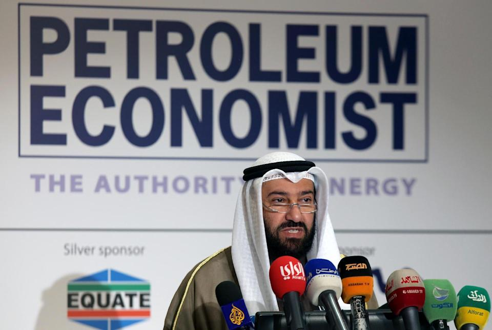 Kuwaiti Oil Minister, Ali al-Omair, speaks during a forum in Kuwait City, on January 21, 2015 (AFP Photo/Yasser Al-Zayyat)