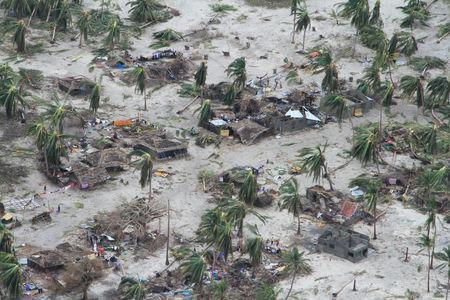 The aftermath of Cyclone Kenneth is seen in Macomia District, Cabo Delgado province, Mozambique April 27, 2019 in this picture obtained from social media on April 28, 2019. OCHA/Saviano Abreu/via REUTERS