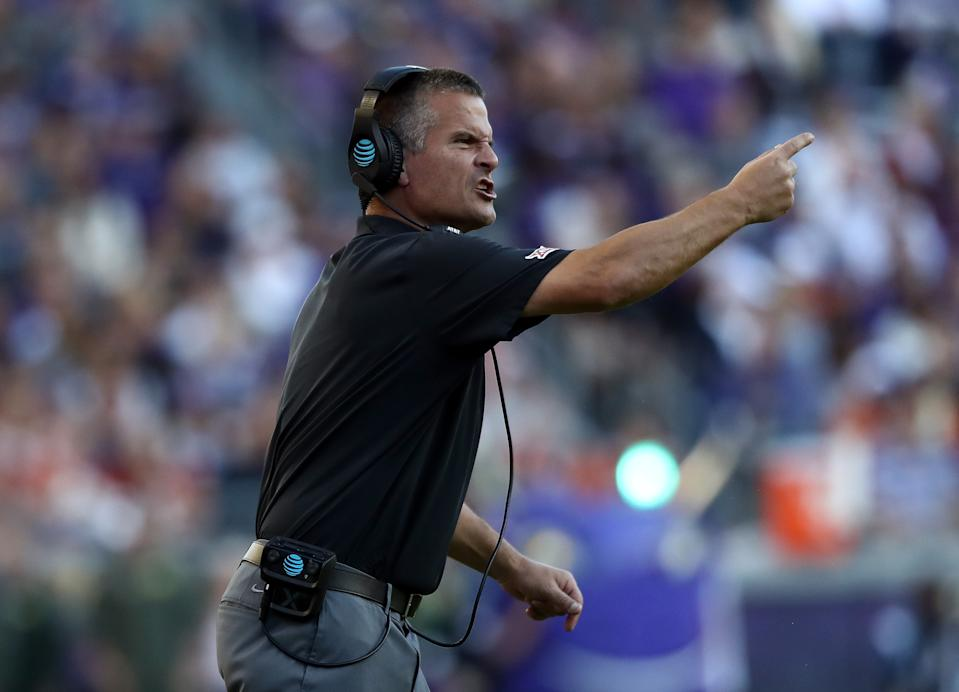 FORT WORTH, TEXAS - OCTOBER 26:  Defensive coach Todd Orlando of the Texas Longhorns reacts during play against the TCU Horned Frogs in the second half at Amon G. Carter Stadium on October 26, 2019 in Fort Worth, Texas. (Photo by Ronald Martinez/Getty Images)