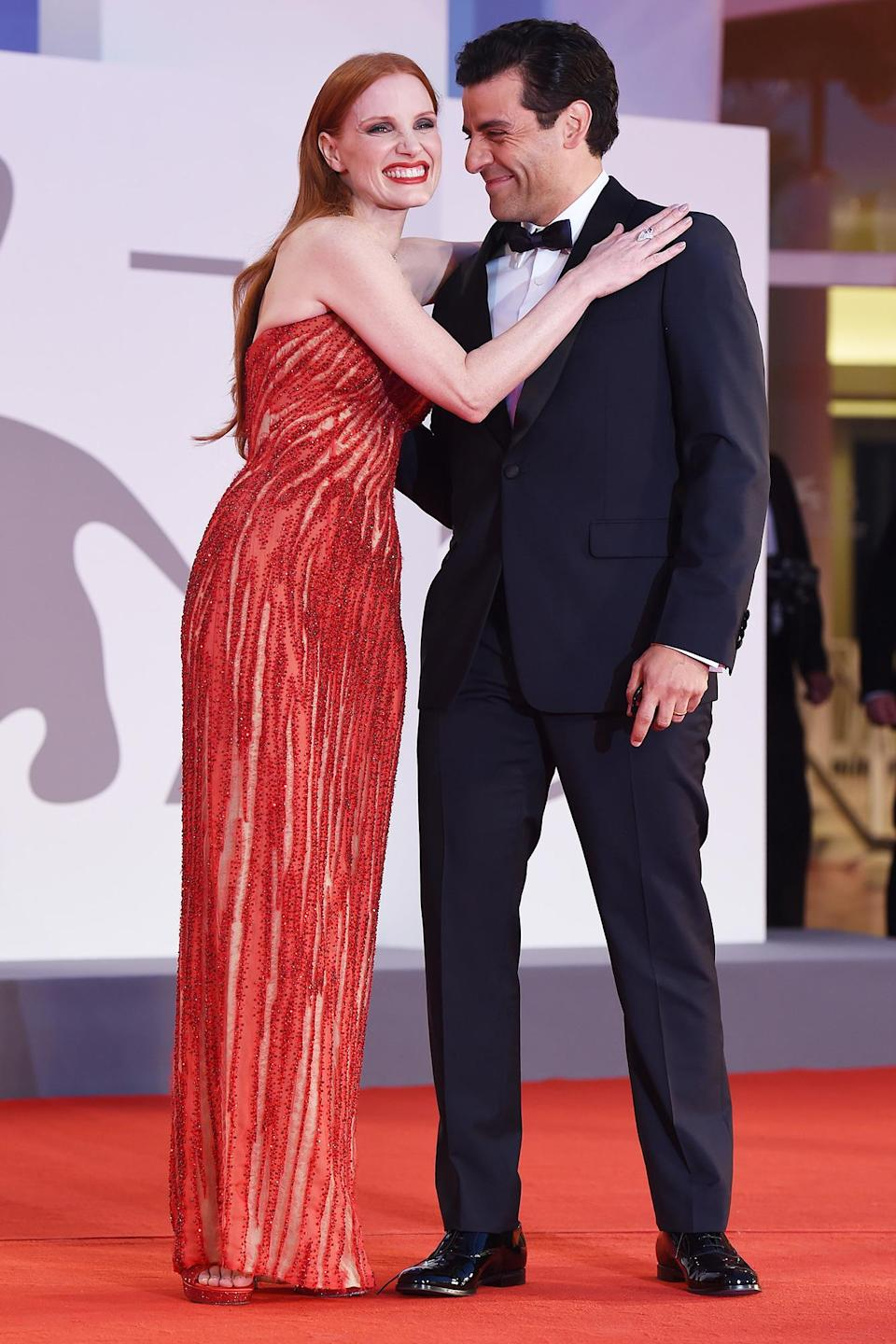 """<p>On Sept. 4, Jessica Chastain and Oscar Isaac hit the red carpet at the 2021 Venice Film Festival for the premiere of <em><a href=""""https://www.youtube.com/watch?v=mRuVWHnQlV8"""" rel=""""nofollow noopener"""" target=""""_blank"""" data-ylk=""""slk:Scenes of a Marriage"""" class=""""link rapid-noclick-resp"""">Scenes of a Marriage</a>.</em></p>"""