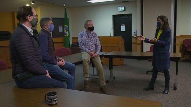 PHOTO: Democrat, Republican & Independent Commsioners of Clallam County, WA talk to ABC News Correspondent Zohreen Shah about why county always seems to choose Presidential winner. (ABC News)