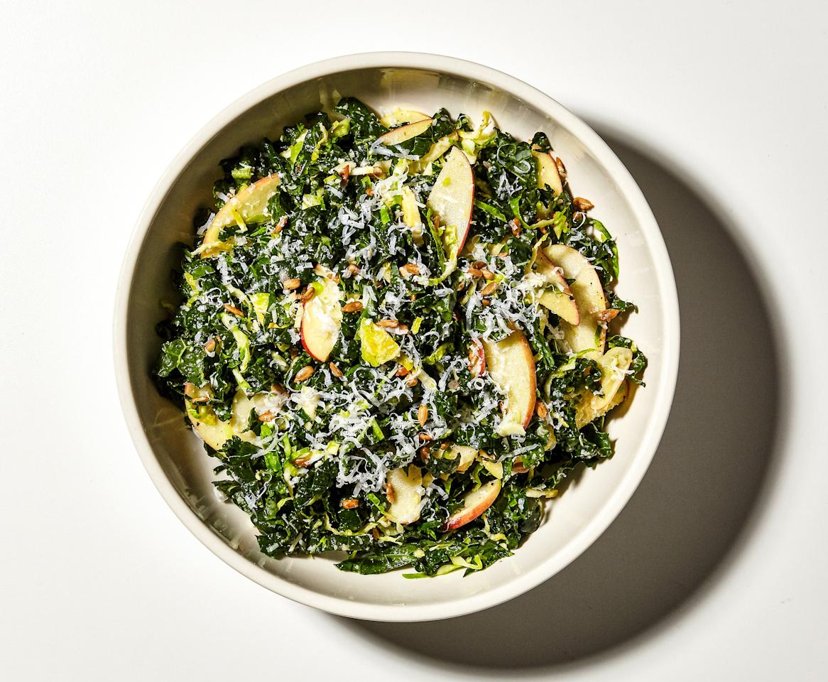 "Didn't think you could eat brussels sprouts raw? Well you can, especially when they're thinly sliced and tossed in a tangy, mustardy vinaigrette. Add a mess of kale, salty cheese, sweet-tart apple, and crunchy seeds, and you get a borderline addictive salad. <a href=""https://www.bonappetit.com/recipe/winter-crunch-salad?mbid=synd_yahoo_rss"">See recipe.</a>"