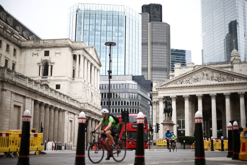 The Bank of England can be seen as people cycle through the City of London financial district