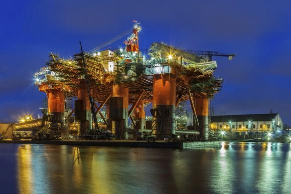 A jack-up drilling vessel in dry dock.