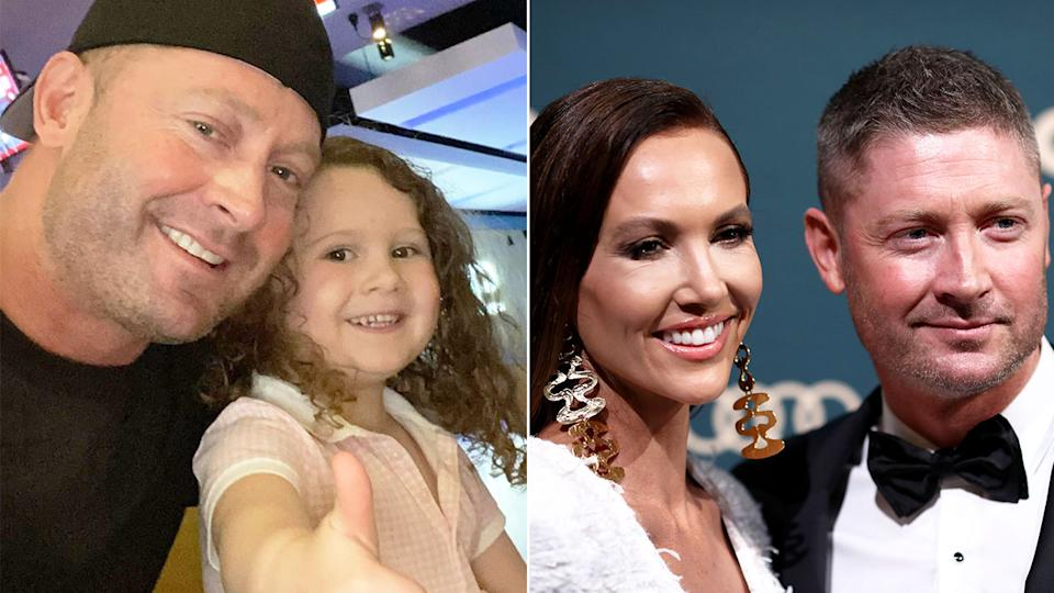 Seen here, Michael Clarke with his daughter Kelsee Lee and estranged wife Kyly.