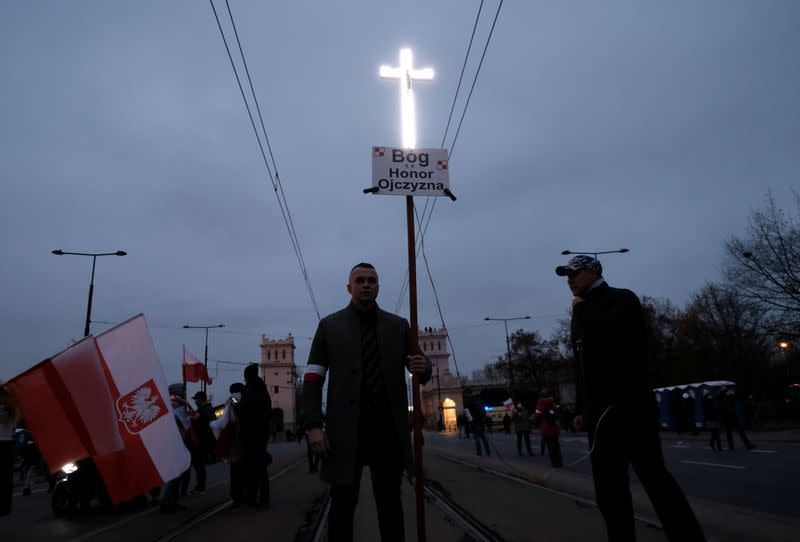 People mark the National Independence Day in Warsaw