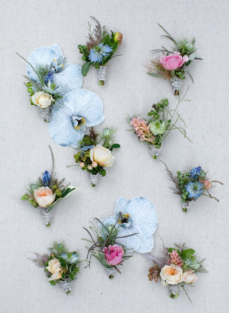 "Groom and groomsmen's boutonnieres by Kiana, inspired by ""something blue."""