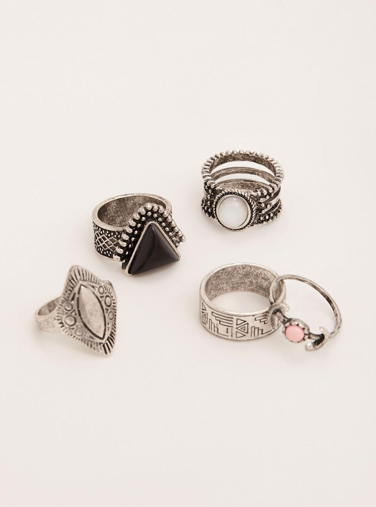 "Get the <a href=""http://www.torrid.com/product/etched-boho-ring-set/10912728.html?cgid=accessories-jewelry"" rel=""nofollow noopener"" target=""_blank"" data-ylk=""slk:Torrid etched boho ring set"" class=""link rapid-noclick-resp"">Torrid etched boho ring set</a>, $14.90"