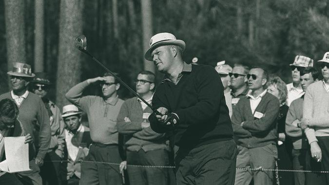 Jack Nicklaus, who was the youngest player to win the Masters golf tournament at 23 in 1963, gets off a practice shot at Augusta National Golf ClubMASTERS NICKLAUS, AUGUSTA, USA.