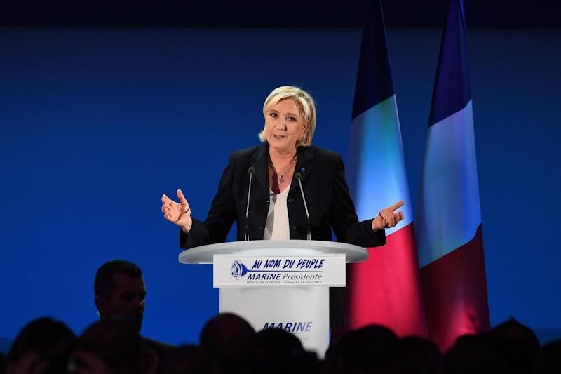 Through to the final round: Marine Le Pen: AFP/Getty Images