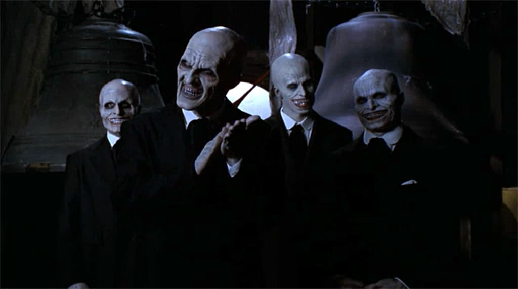 """<b>2. """"Hush,"""" Buffy the Vampire Slayer</b><br><br>""""Buffy"""" had a number of creepy episodes, but the one that's usually singled out as the creepiest is """"Hush,"""" in which the ghostly """"Gentlemen"""" arrive in town; steal everyone's voices, so they can't scream when their hearts are cut out; and float past windows in an extremely ooky fashion. The episode is also one of the series' funniest, with the inability to speak prompting some accidentally R-rated gestures (and Watcher Giles's slideshow is a highlight) -- but the Gentlemen's awful rictuses, and disorientingly foot-free mode of travel, make them an all-time scariest Big Bad. You guys voted this one of the top two scariest episodes on our <a target=""""_blank"""" href=""""http://www.facebook.com/YahooTV#"""">Facebook page</a>."""