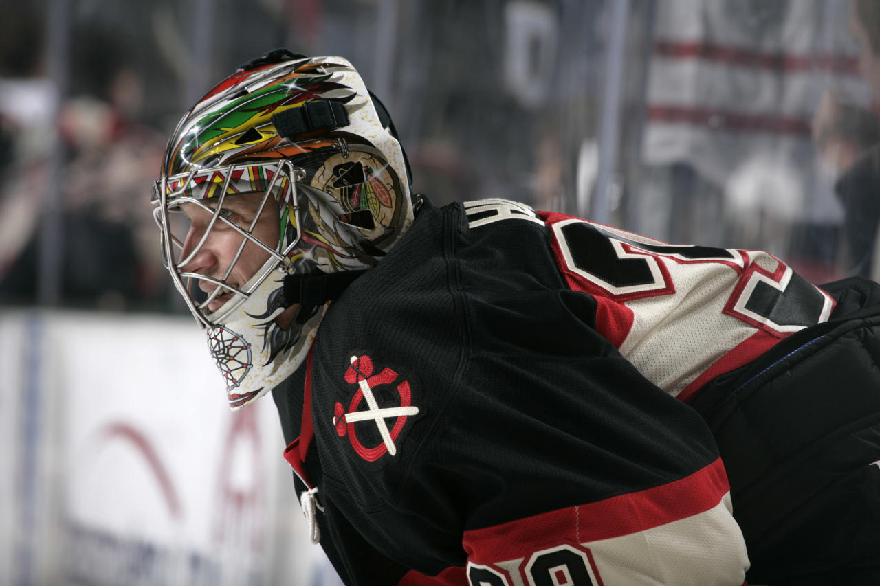DALLAS - APRIL 6: Cristobal Huet #39 of the Chicago Blackhawks tends goal against the Dallas Stars on April 6, 2010 at the American Airlines Center in Dallas, Texas. (Photo by Glenn James/NHLI via Getty Images)