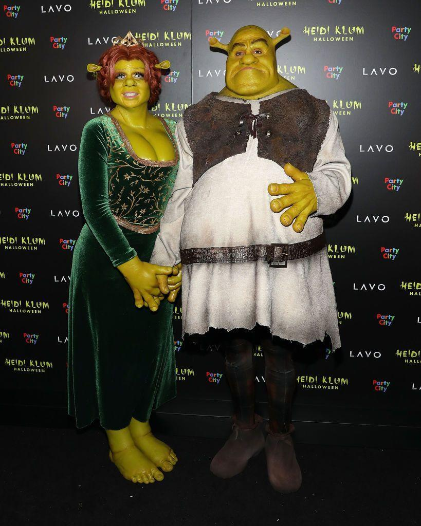 <p>Heidi underwent a complete transformation for this costume, and her husband, Tom Kaulitz, gamely took on the part of Shrek.</p>
