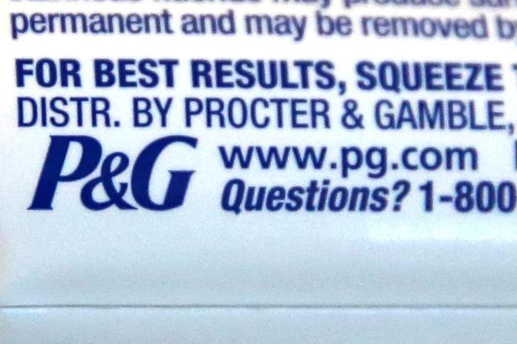 FILE PHOTO: The logo of Dow Jones Industrial Average stock market index listed company Procter & Gamble (PG) is seen on a tube of toothpaste in Los Angeles