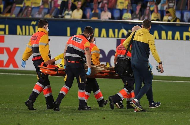 Etienne Capoue was sent off before leaving the pitch on a stretcher