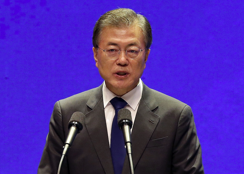 <em>South Korean president Moon Jae-in said his country will do all they can to prevent a nuclear war (Rex)</em>