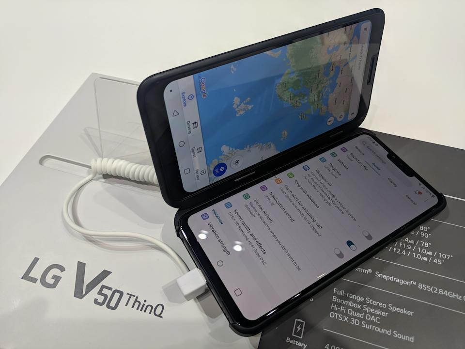 No this isn't a foldable phone. It's an attachable second screen for the LG V50. (image: Rob Pegoraro)