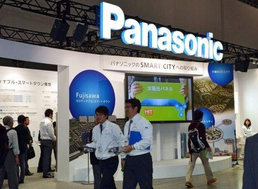 Japan's consumer electronics giant Panasonic displays its latest technology for a smart city project at an exhibition in Yokohama, suburban Tokyo. Shares in Panasonic dived nearly 20 percent Thursday after the Japanese consumer electronics giant warned of a mammoth $9.6 billion net loss for this fiscal year