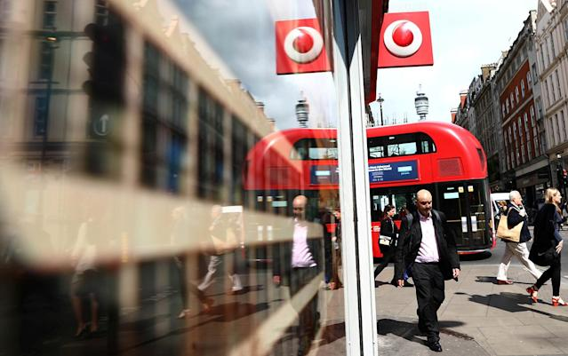 <p>A branded sign is displayed on a Vodaphone store in London, Britain May 16, 2017. (Photo: Neil Hall/Reuters) </p>